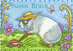Art: GUINEA PIG MOWING by Artist Susan Brack