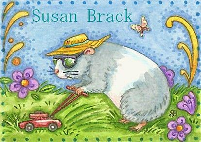 Art: GUINEA PIG MOWING by Artist Susan Brack