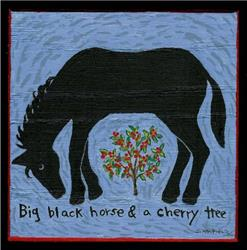 Art: Big Black Horse & a Cherry Tree by Artist Sara Field