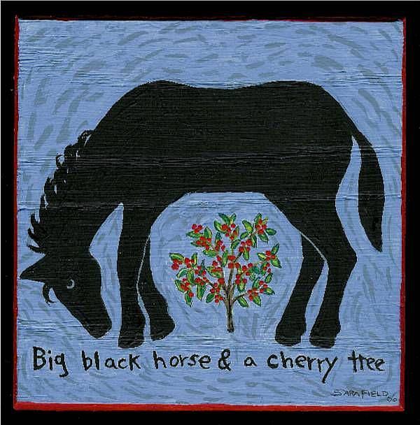 Art: Big Black Horse & a Cherry Tree by Artist Sara Field