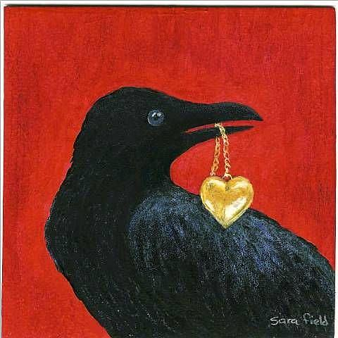 Art: crow steals heart by Artist Sara Field