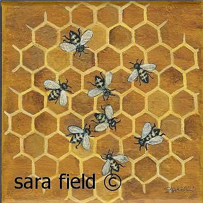 Art: Honey Bees by Artist Sara Field