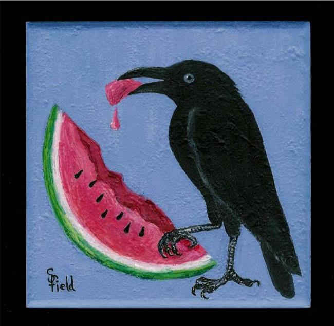 Art: Crow and Watermelon by Artist Sara Field