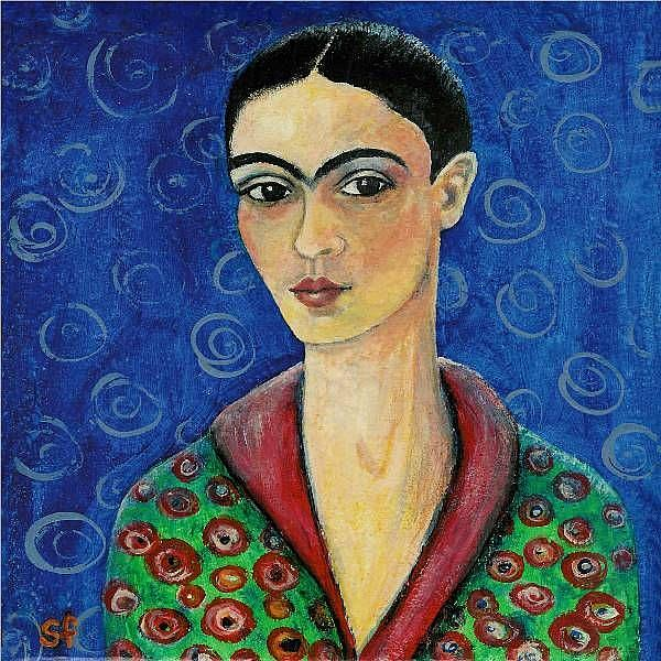 Art: Frida with a hint of Klimt by Artist Sara Field