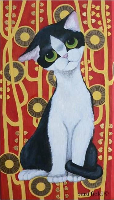 Art: Kilimt's Cat meets Pity Kitty by Artist Sara Field