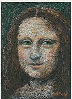 Art: Green-eyed Mona Lisa by Artist Sara Field