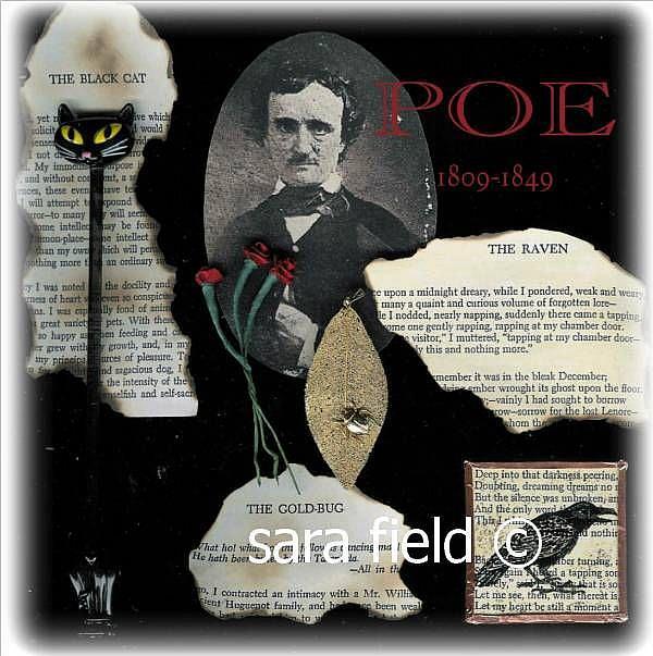 Art: Poe Collage by Artist Sara Field