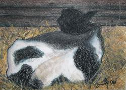 Art: Resting Cow by Artist Laura Gemme Triplett