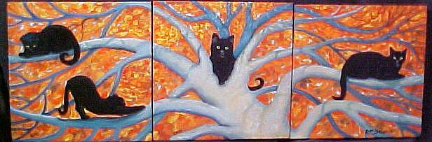 Art: Cats' Tree by Artist Rosemary Margaret Daunis