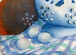 Art: Kitchen Affair Series, Collander & Eggs by Artist Deborah Leger