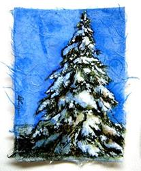 Art: Snowy Pine ACEO by Artist Deborah Leger