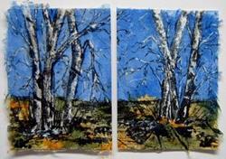 Art: Birch Tree Diptych by Artist Deborah Leger