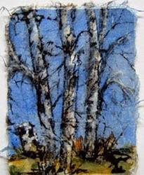 Art: Birch x 3 and a stump, card 2 by Artist Deborah Leger