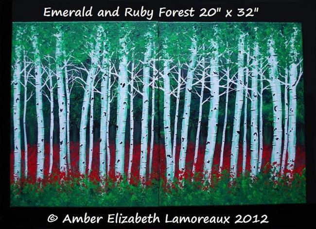 Art: Emerald and Ruby Forest (sold) by Artist Amber Elizabeth Lamoreaux