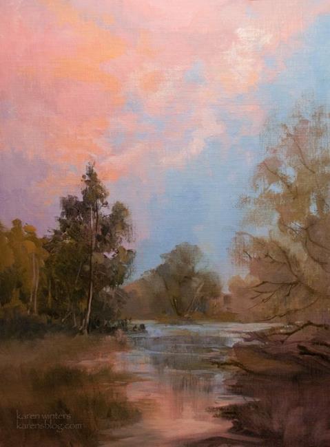 Art: Heaven at devils gate dam La Canada oil painting by Artist Karen Winters
