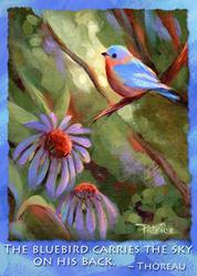 Art: ACEO Bluebird, Echenacea & Thoreau Quote by Artist Patricia  Lee Christensen