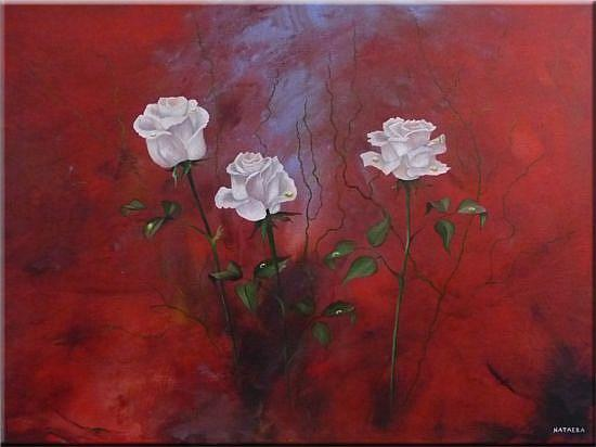 Original Abstract Painting With Flowers Acrylic On Canvas