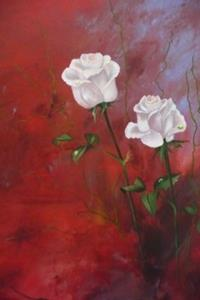 Detail Image for art ORIGINAL abstract PAINTING WITH FLOWERS,acrylic on canvas - SOLD