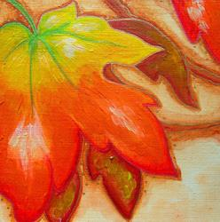 Art: AUTUMN LEAVES ACRYLIC PAINTING 5 X 5 by Artist Cyra R. Cancel