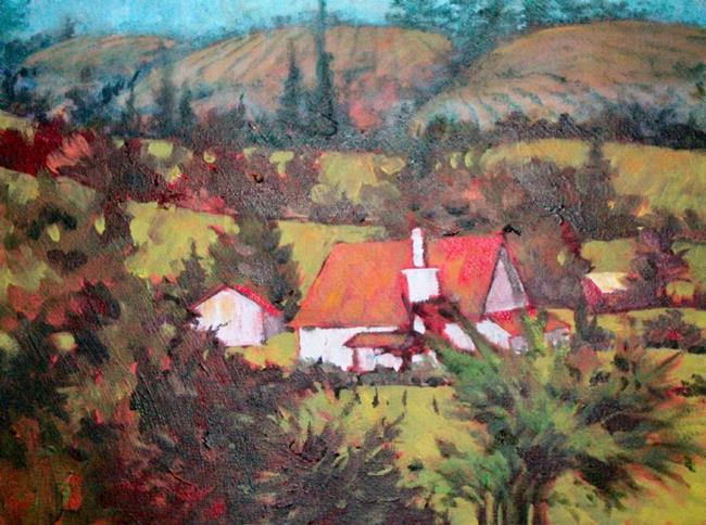 Art: RED ROOFS PASTORAL by Artist Pamela K Wilhelm