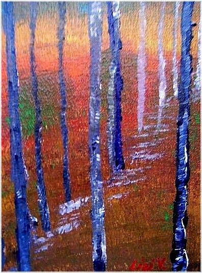Art: TREES-ORIGINAL LANDSCAPE ACRYLIC PAINTING- SOLD by Artist LUIZA VIZOLI