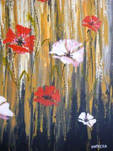 Detail Image for art ORIGINAL ABSTRACT PAINTING WITH FLOWERS