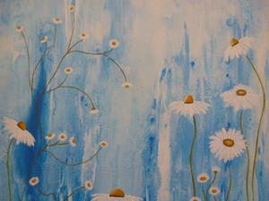 Detail Image for art ORIGINAL ABSTRACT PAINTING WITH FLOWER