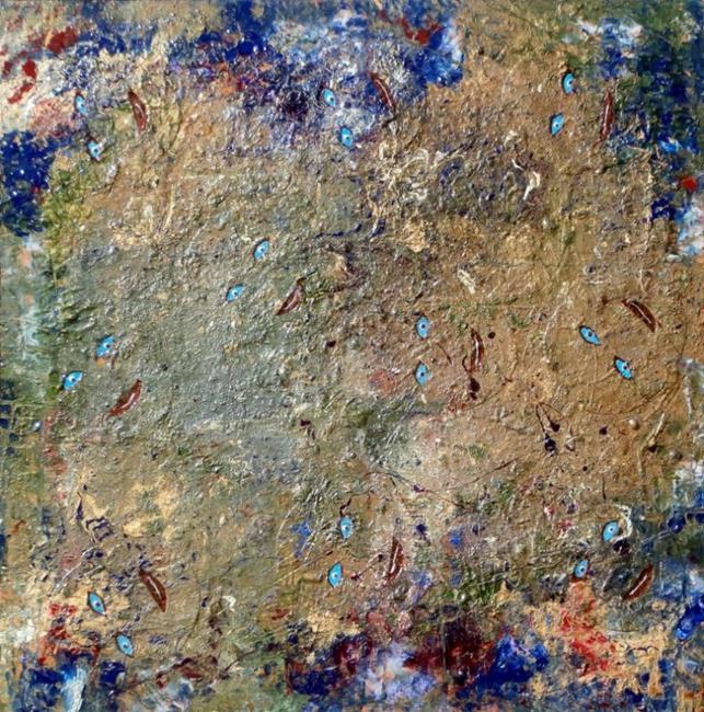 Art: FACES IN THE BUSH by Artist Dawn Hough Sebaugh