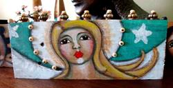 Art: FOLK ART ANGEL PAINTING ON WOOD F by Artist Cyra R. Cancel