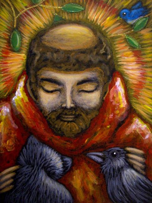 Art: SAINT FRANCIS OF ASSISI, CAT & CROW by Artist Cyra R. Cancel