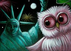 Art: PINK OWL - JULY 4TH - STATUE OF LIBERTY by Artist Cyra R. Cancel