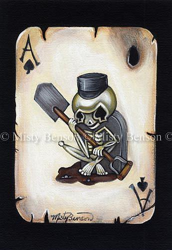 Art: Ace Of Spades Skelly - Day of the Dead Skeleton Art by Artist Misty Benson