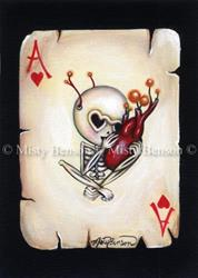 Art: Ace Of Hearts Skelly - Skeleton Art Day of the Dead Card by Artist Misty Benson