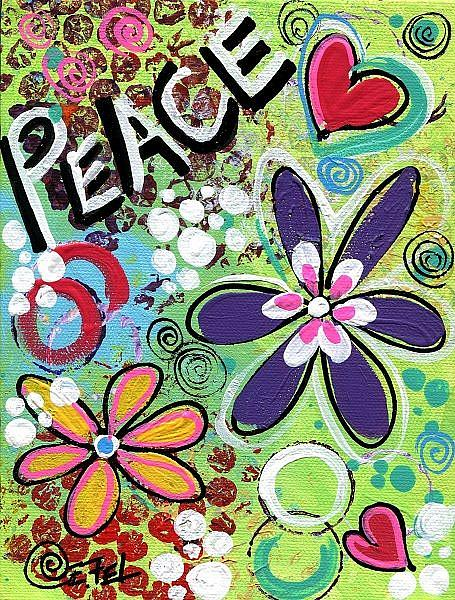 Art: Peace pop art #2 by Artist Elena Feliciano