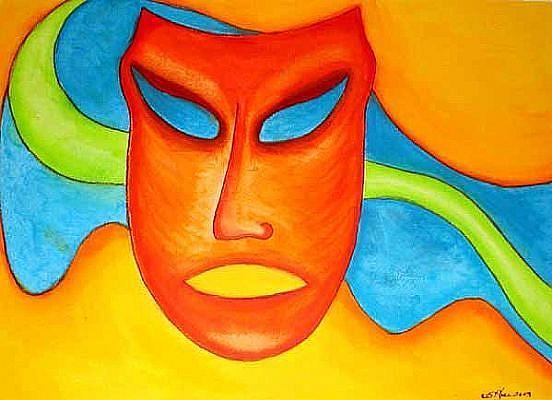 Art: Mask - Orange Heat by Artist Victor McGhee