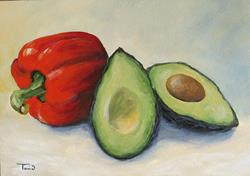 Art: Avocado with Bell Pepper by Artist Torrie Smiley