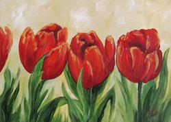 Art: Red Tulips by Artist Torrie Smiley