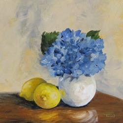 Art: Lemons with Hydrangea by Artist Torrie Smiley
