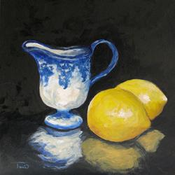 Art: Flow Blue Creamer and Lemons by Artist Torrie Smiley