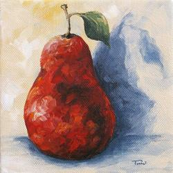 Art: Red Pear with Shadow by Artist Torrie Smiley