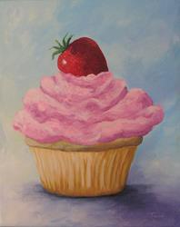 Art: Pink Strawberry Cupcake by Artist Torrie Smiley