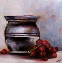 Art: Urn with Grapes by Artist Christine E. S. Code ~CES~