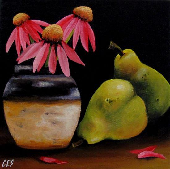 Art: Echinacea and Pears by Artist Christine E. S. Code ~CES~