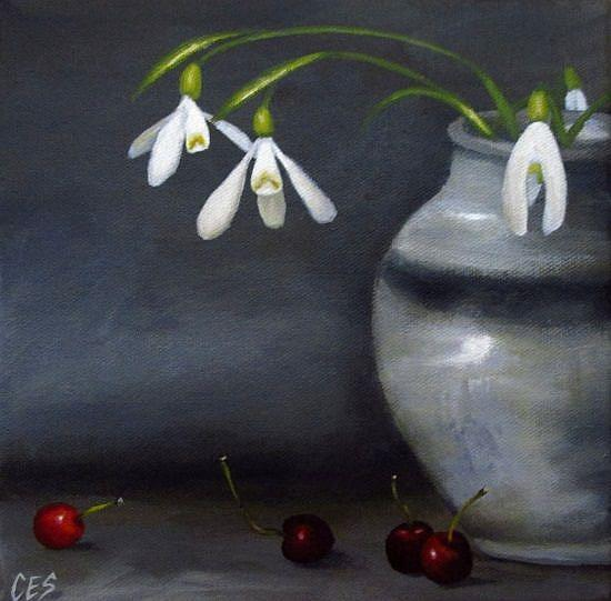 Art: Snowdrops and Cherries by Artist Christine E. S. Code ~CES~