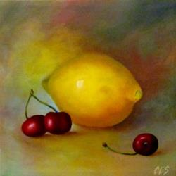 Art: Lemon and Cherries by Artist Christine E. S. Code ~CES~