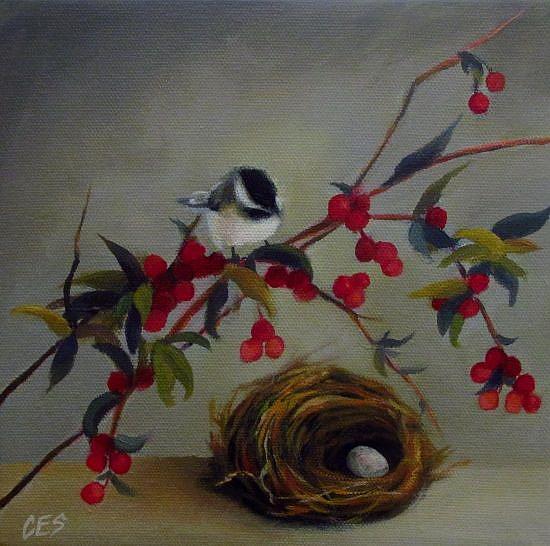 Art: Chickadee and Nandina by Artist Christine E. S. Code ~CES~
