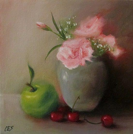 Art: Carnations and Fruit Medley by Artist Christine E. S. Code ~CES~