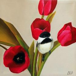 Art: Chickadee and Poppies by Artist Christine E. S. Code ~CES~