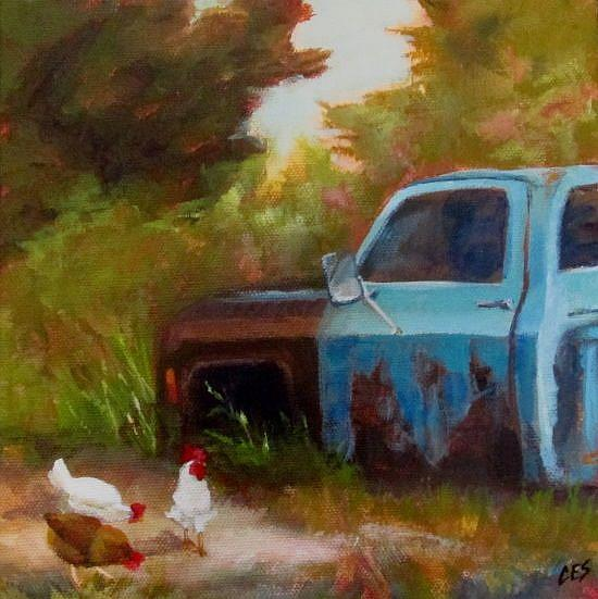 Art: Chickens Grazing by Old Blue by Artist Christine E. S. Code ~CES~