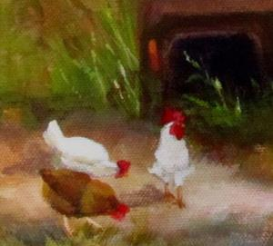 Detail Image for art Chickens Grazing by Old Blue